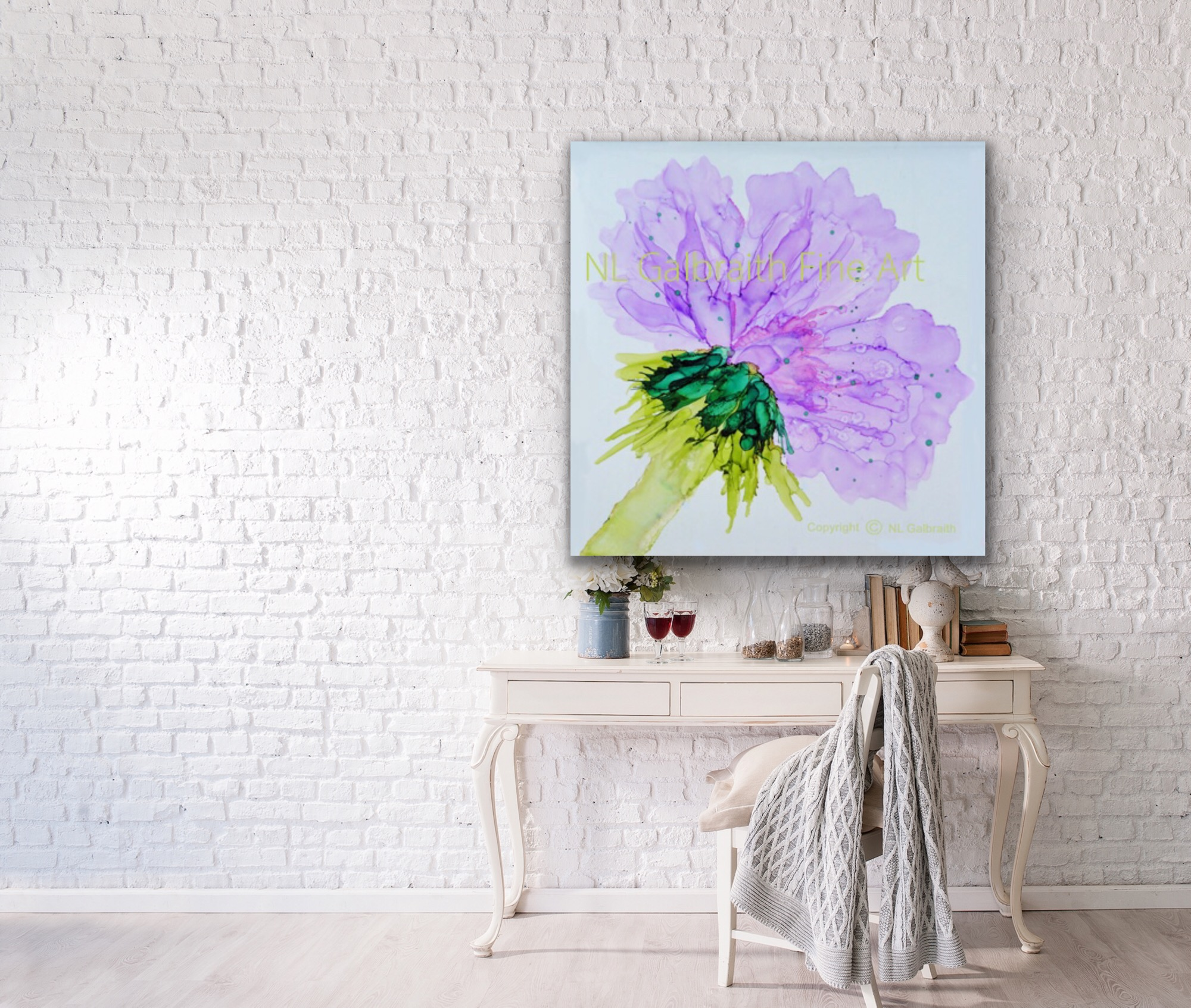 Med. Violet Flower on White Brick Wall
