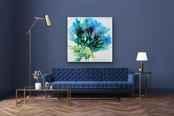 Large Blue Green Flower Over a Blue Sofa