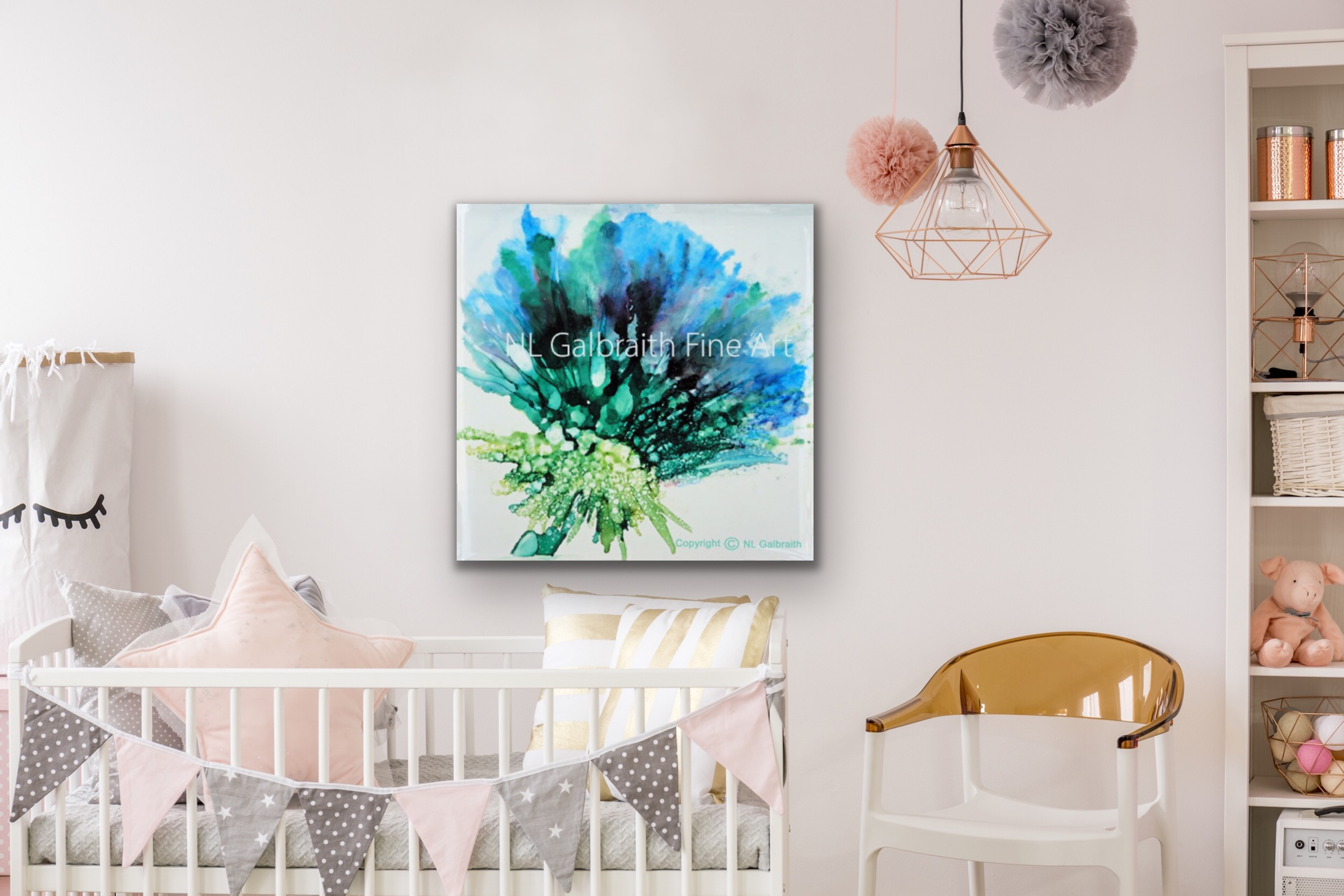 Medium blue Green Flower in a Nursery