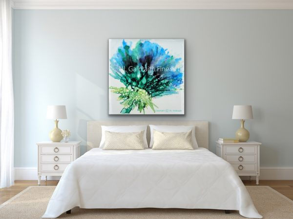 Large Blue Green Flower in White Bedroom