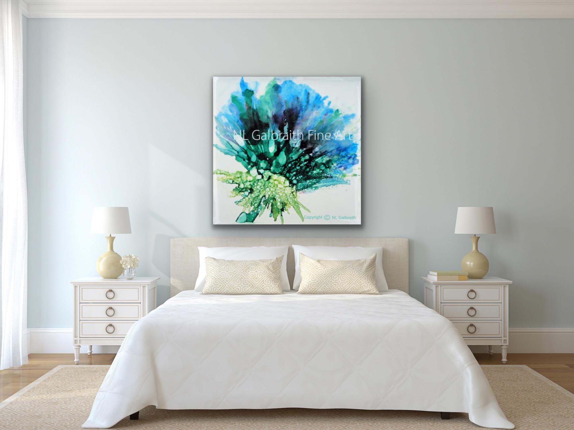 Large Blue Green Flower in White Bedroom