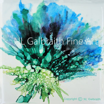 Large Blue Green Flower Graphic5x5res72 to 48x48