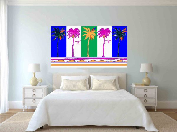 Five Party Palms over a bed.