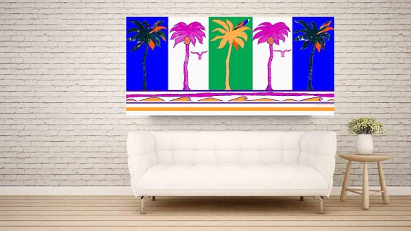 Festive five party palms over a white sofa.
