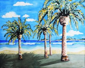 "NL Galbraith releases a new painting titled – ""Daydreams; Palms, Beach, & Surf""."