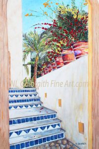 "NL Galbraith's painting, ""Surprise Beyond The Blue Tiled Stairs"" wins an award in San Diego!"